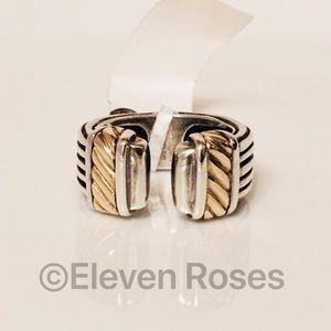 Menegatti Heavy Sterling & 18k Gold Cuff Ring